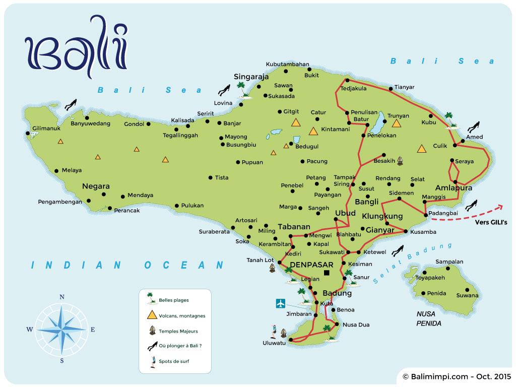 Atlas Des Voyages Cartes Et Plans De Bali Gili Lombok Flores